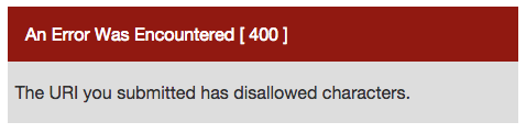 codeigniter 400 error for disallowed characters
